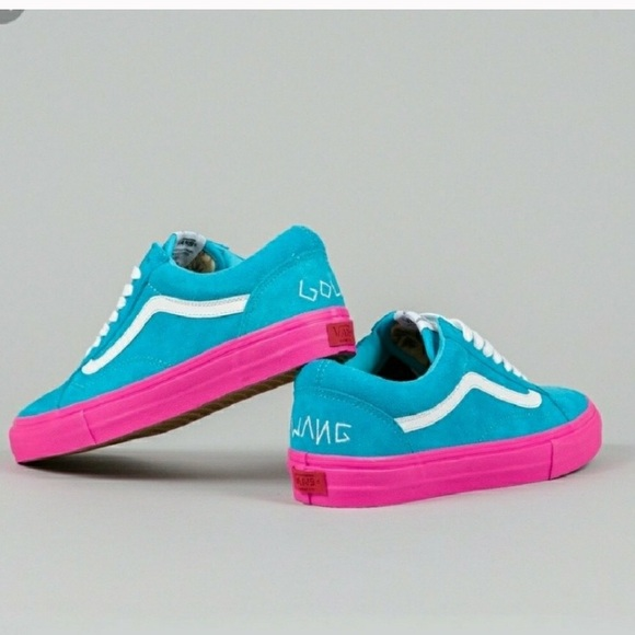 blue and noir vans chaussures pink